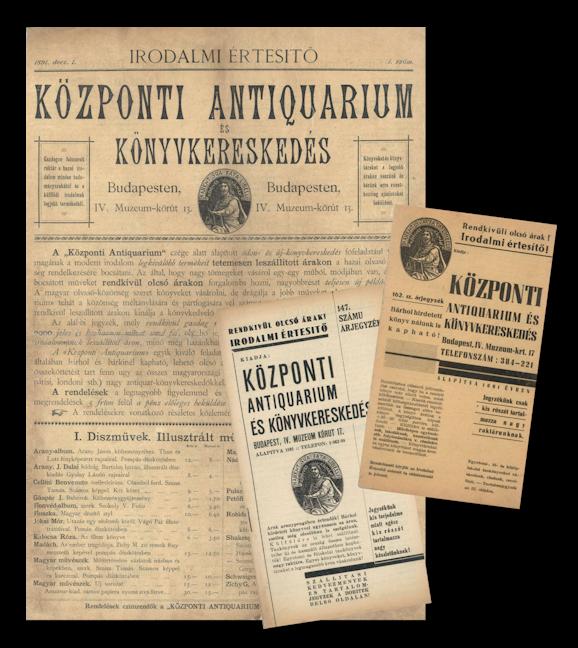 A Központi Antikvárium készlettájékoztatóinak néhány száma.